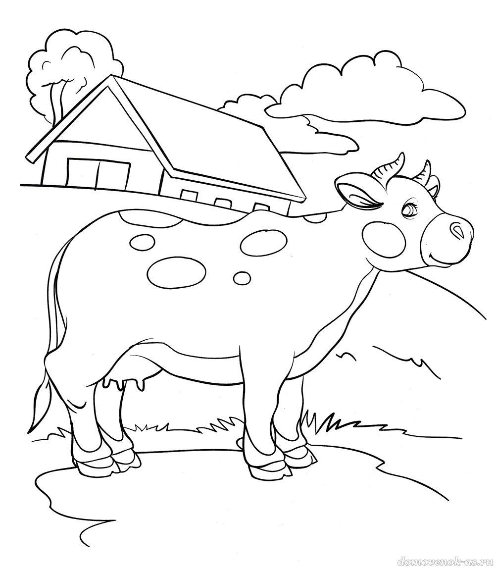 Детская раскраска. Корова в деревне
