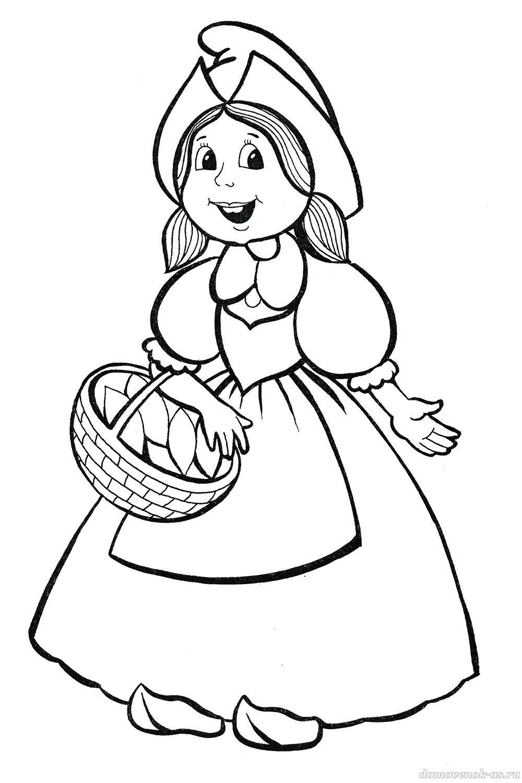 Раскраска сказки красная шапочка для детей