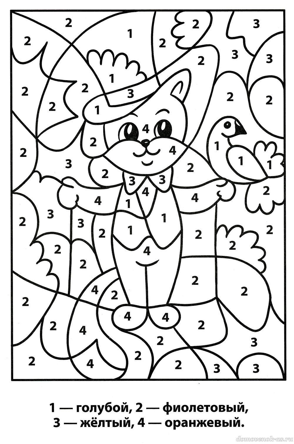 Раскраска по номерам для детей. Кот в цирке