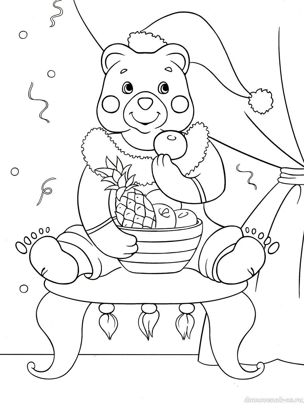 Новогодняя раскраска для детей 5-7 лет