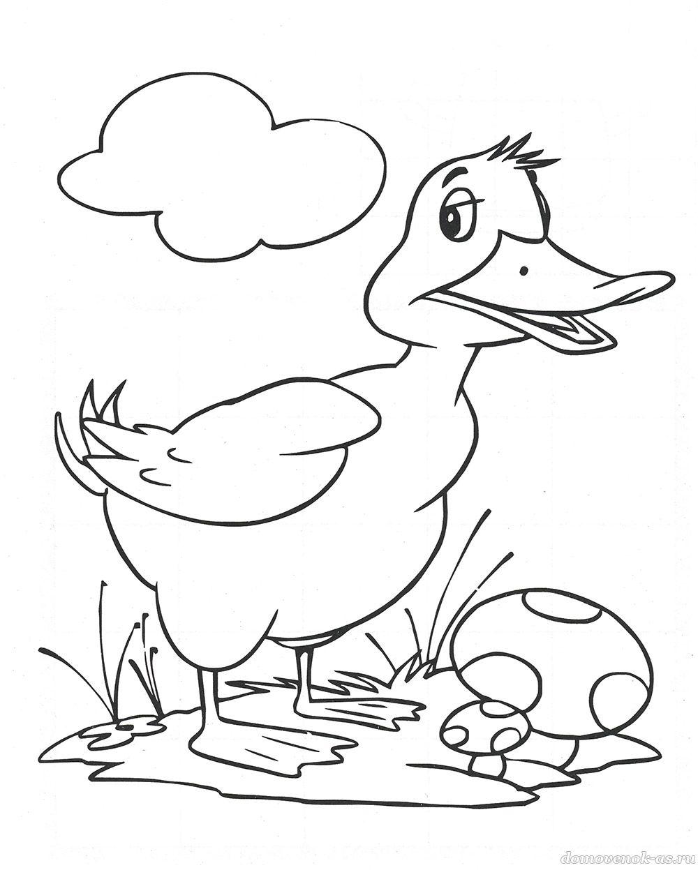 Раскраска для детей 5-7 лет. Утёнок