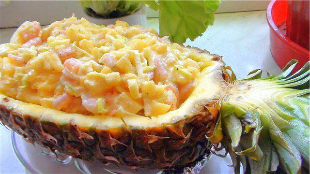 Салат с ананасами и рецепт