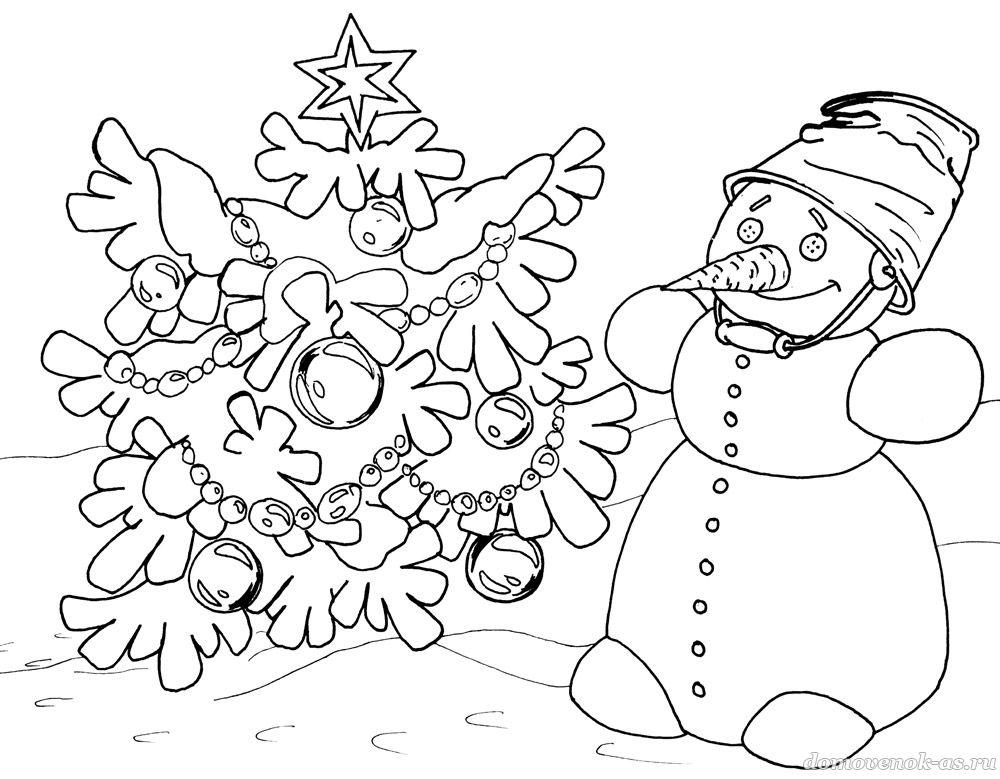 Раскраска зима для детей