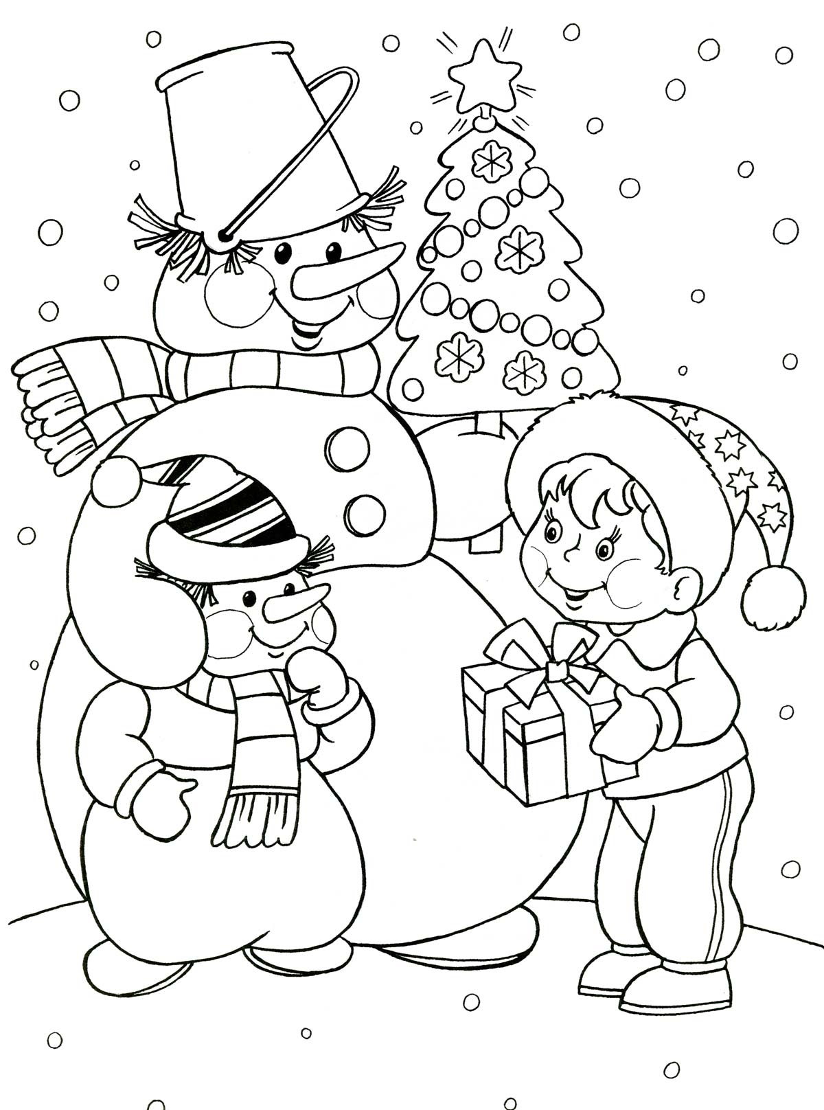 Зима рисунок для детей раскраска